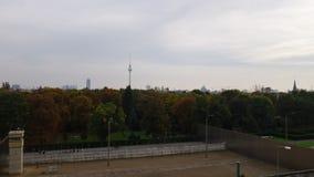 Skyline of Berlin, Germany, seen across the Berlin Wall memorial royalty free stock image