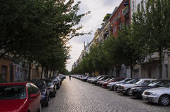 View of a Berlin street a summer evening stock image