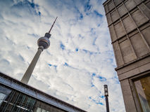 View of the Berlin TV Tower Fernsehturm Royalty Free Stock Photos