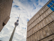 View of the Berlin TV Tower Fernsehturm Royalty Free Stock Photography