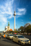 View of the Berlin TV Tower (Fernsehturm) is a television tower in central Berlin Stock Image