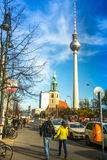 View of the Berlin TV Tower (Fernsehturm) is a television tower in central Berlin Stock Photo