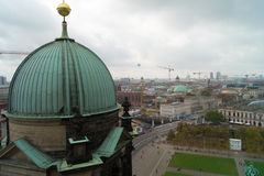 View from Berliner Dom, Berlin, Germany. View from Berliner Dom of Berlin showing cranes  building activity, Germany Stock Photo