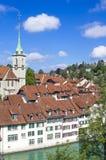 View of Bern. Aare river. Church. Nidde Kirche stock photography