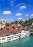 View of Bern. Aare river. Church. Nidde Kirche royalty free stock photo