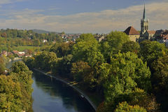 View of Bern city from hill. Switzerland. View of Bern city and cathedral from hill. Switzerland Royalty Free Stock Photos
