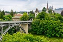 View of Bern, Switzerland. View of Kirchenfeld Bridge and Historical Museum. Bern, Switzerland royalty free stock photography