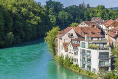 View of Bern. View of the river Aare. In Bern royalty free stock images