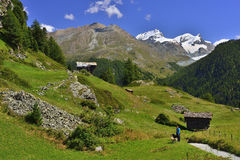 View of Berner Oberland from Zum See village from the bottom of Matterhorn Royalty Free Stock Photos