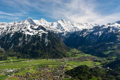 View on Bernese Alps from Harderkulm above Interlaken in Switzer. Land. The famous peaks are Eiger, Monch and Jungfrau stock photography
