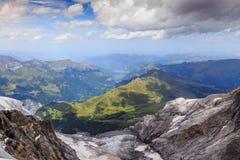 View on Bernese Oberland. Spectacular view from Jungfraujoch on Kleine Scheidegg, Lauberhorn, Mannlichen and the rest of the Bernese Oberland, Switzerland Royalty Free Stock Photos