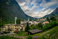 View from the Bernina Express: Alpine Town Stock Photography