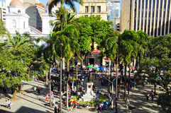 View of the Berrio squarein Medellin, Colombia. Medellin, Colombia, La Candelaria Church and park de Berrio. December 13, 2016: View of the city. Medellin is royalty free stock photography