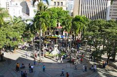 View of the Berrio squarein Medellin, Colombia. Medellin, Colombia, La Candelaria Church and park de Berrio. December 13, 2016: View of the city. Medellin is stock photography