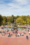 The view from Bethesda Terrace in Central Park. The view from Bethesda Terrace towards Bethesda Fountain in Central Park, New York City Stock Photo