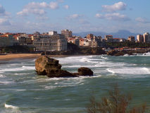 View of Biarritz. Rocks near the beach in Biarritz, France Stock Photos