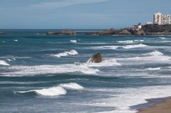 View on biarritz and rocher de la vierge from cliffs of coastal path in bidart, basque country, france. View on biarritz and rocher de la vierge from cliffs of Stock Photo