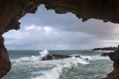 View on Biarritz waves Stock Images
