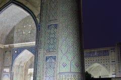 Bibi-Khanym mosque Samarkand, Uzbekistan. View on the Bibi-Khanym mosque at night, one of the Islamic world's biggest mosques, built by Timur in 15th stock photos