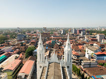 View from Bible Tower on Thrissur city. Thrissur, India - December 30, 2015: View from Bible Tower on Our Lady of Dolours Basilica church and Thrissur city stock image