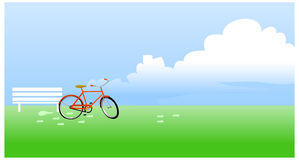 The view of Bicycle propped Stock Images