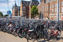 Amsterdam Bikes parked royalty free stock photos