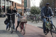 View of bicyclist on Amsterdam street, Netherland Royalty Free Stock Images