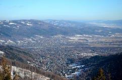 View of the Bielsko-Biala in Poland. From Szyndzielnia stock images