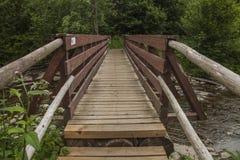A view of Bieszczady Mountains, Poland, eastern Europe - a wooden bridge. stock photography