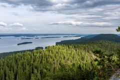 View of the big beautiful lake and forest from hill top. Koli Natiomal Park, Finland Royalty Free Stock Images