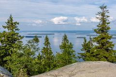 View of the beautiful lake from hill top, Koli National Park. View of the big beautiful lake from hill top, Koli National Park, Finland royalty free stock images