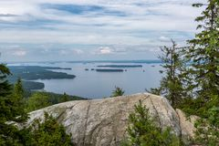 View of the big beautiful lake from hill top. Koli National Park, Finland Royalty Free Stock Images