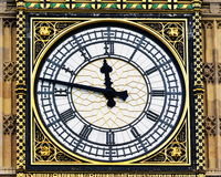 View of Big Ben. View of the Clock Face of Big Ben at the Houses of Parliament in London Royalty Free Stock Photography