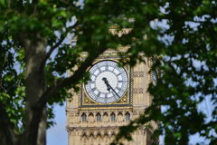 View of Big Ben. View of the Clock Face of Big Ben at the Houses of Parliament in London Stock Photo