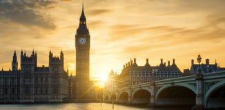 View of Big Ben clock tower at sunset Stock Photos