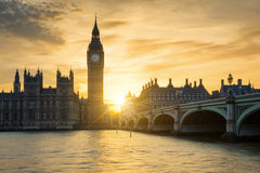 View of Big Ben clock tower at sunset Stock Photos