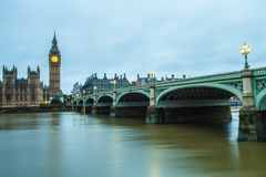 The Bridge, The Tower and The Clock royalty free stock images