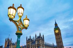 View of Big Ben and lantern at the evening Stock Image