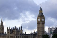View of Big Ben and Parliament. Big Ben and the Houses of Parliament by the Thames in London, England Stock Photos
