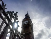 View of Big ben tower clock with dramatic clouds in background stock images
