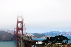 View of the big bridge in the misty morning stock image