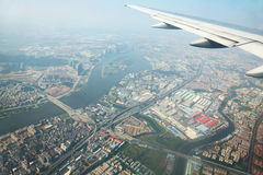 View of big city from airplane Stock Image