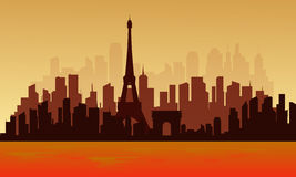 View of big city france silhouette Royalty Free Stock Photo