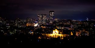 View on a big city at night. View on building in big city at night Stock Photography