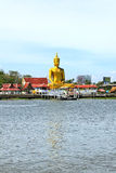 The view of big golden buddha be side the Chao Phraya river Stock Image