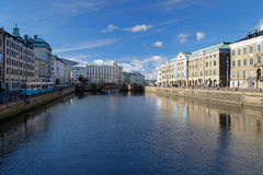 View of the Big Harbor Canal in Gothenburg Stock Image