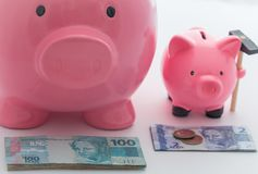 Big and little piggy moneybox as a saving concept / brazilian money. View of the Big and little piggy moneybox as a saving concept / brazilian money Royalty Free Stock Image