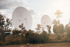 View of a big long range communication antenna. Royalty Free Stock Photo