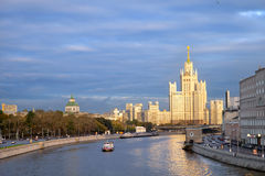The view from Big Moskvoretsky bridge on moscow river Stock Images
