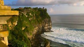 View on big ocean waves at the Uluwatu Temple, Pura Luhur Uluwatu, at the Bali island, Indonesia.  stock footage